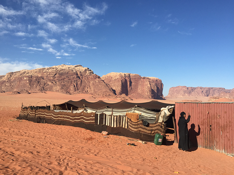 The Bedouin camp in Jordanian desert.